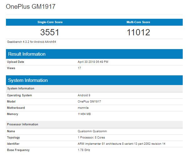 OnePlus 7 Pro Geekbench test