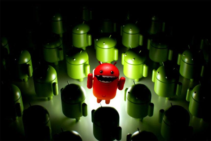 Android zlonamjerni softver ili malware ilustracija