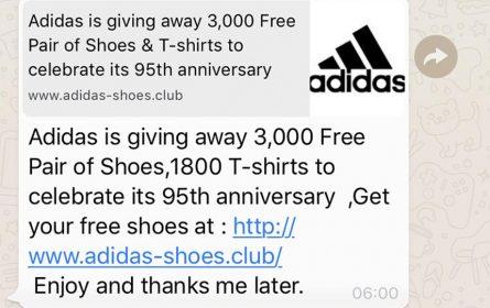 Prevarantska poruka navodno od Adidasa koja se širi WhatsApp-om