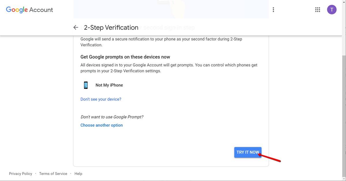Aktivacija dvofaktorske verifikacije na google računu - try it now
