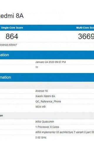 Xiaomi Redmi 8A Android 10 Geekbench