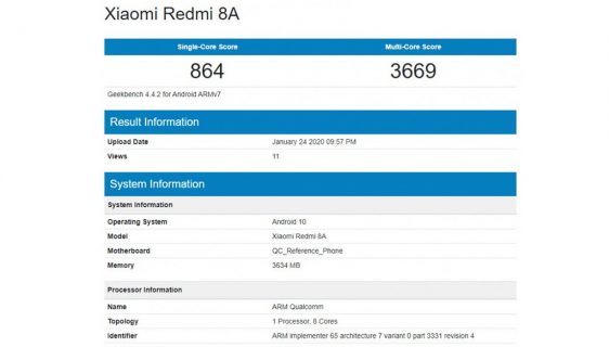 Xiaomi Redmi 8A Android 10 Geekbench