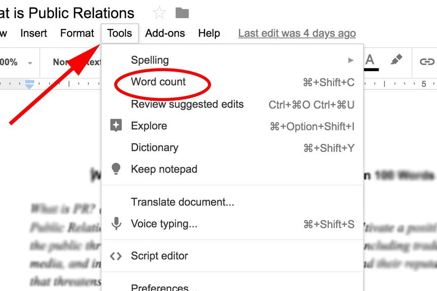 Brojač riječi u Google Docs