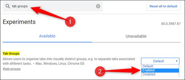 Omogućite grupisanje kartica (Tab groups)