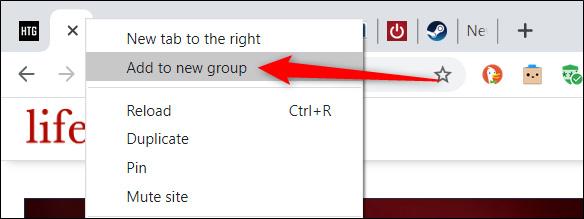 Desni klik na jednu od kartica i odaberite Add to new group