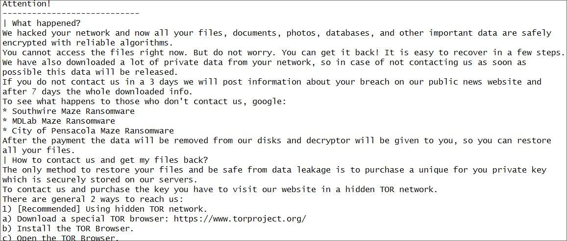 Dio poruke koji su napadači poslali Canon-u (Foto: BleepingComputer)