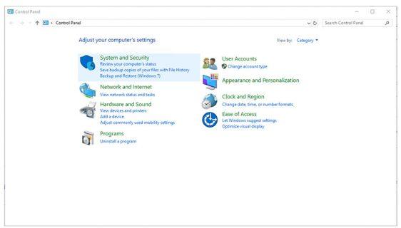 Windows Control Panel screenshot