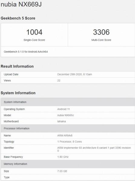 nubia NX669J na Geekbench-u