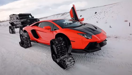 Na Lamborghini Aventador montirao gusjenice za vožnju po snijegu